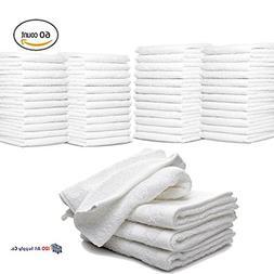 """IZO.BATH - 60 Pack 12""""x12"""" Cotton Fingertip-Hand-Face Towels"""