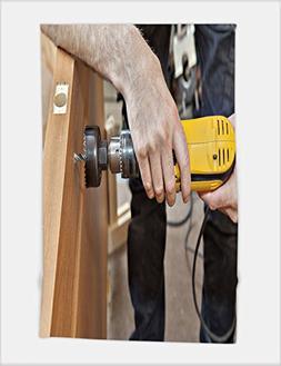 Minicoso Bath Towel door installation hands carpenter holdin