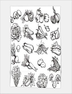 Minicoso Bath Towel Hand Drawn Vegetables Set Collection of