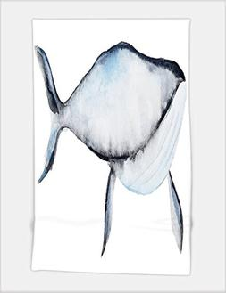 Minicoso Bath Towel hand painted watercolor blue whale in ca