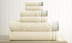 Bath Towel Jacquard 6 Piece Set Soft Luxury 100% Cotton Gues