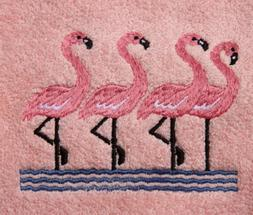 Bath Towel Set with Embroidered Group of Flamingos - White