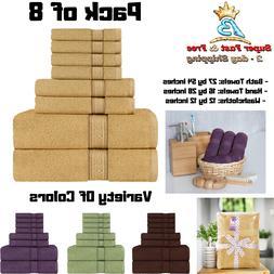 Bath Towel Set 8 Piece Hand Towels Wash Cloths Cotton Super