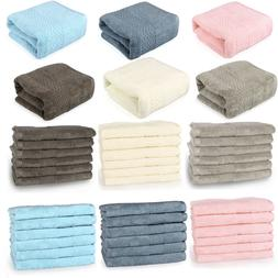 Bath Towel Set Bathroom Towels Washcloths Hand Towel 100% Co