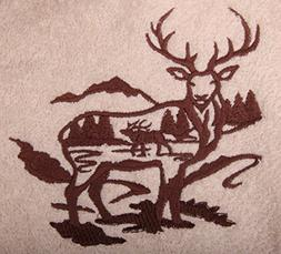 Bath Towel Set with Embroidered ELK Silhouette - Cream Terry
