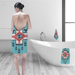 Bath towel set Native American Decor Ethnic Indian Aztec Han