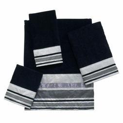 Bath Towel Set,New 4-Piece Black Silver Geneva Cotton Soft B