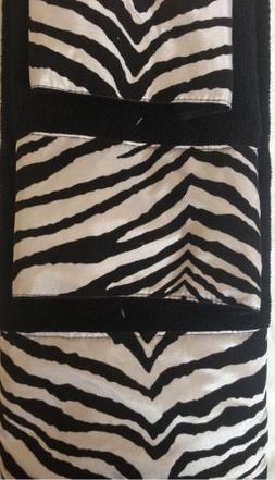 3 Piece Bath Towel Set- Black White Zebra Print Wash Had and