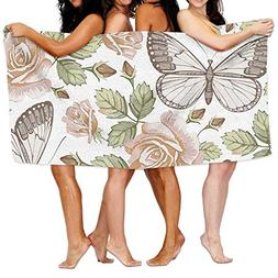 Bhuis Bath Towels, Butterflies Flora Super Soft Ultra Absorb