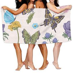 Bhuis Bath Towels, Butterflies Super Soft Ultra Absorbent Ba