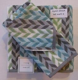 PERI Bath Towels Chevron Striped Aqua Green Gray & White 3Pc