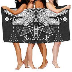 Bath Towels, Dragonfly White Black Super Soft Ultra Absorben