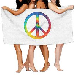 GQOP Bath Towels Tie Dye Peace Sign Personalized Absorbent B