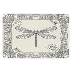 Bathroom Bath Rug Kitchen Floor Mat Carpet,Dragonfly,Hand Dr