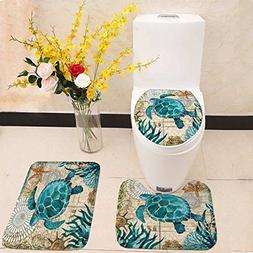 Bathroom Mat Set Toilet Seat Cover Sea Blue Marine Turtle Wh