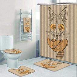 aolankaili 5-Piece Bathroom Set-Includes Shower Curtain Line