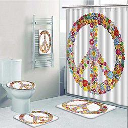 vanfanhome 5-piece Bathroom Set-Includes Shower Curtain Line