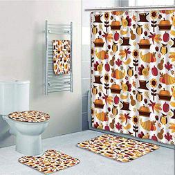Bathroom 5 Piece Set shower curtain 3d print,Harvest,Cute Ca