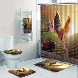 Bathroom 5 Piece Set shower curtain 3d print,Modern,Farm Bar