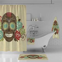 iPrint Bathroom 4 Piece Set Shower Curtain Floor mat Bath To