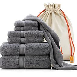 joluzzy Exlusive 7-Piece Towel Set, Steel-Blue/Gray - 100% L