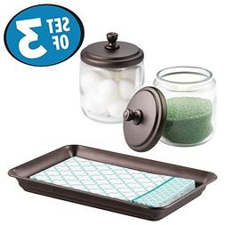 mDesign Bathroom Vanity Storage Organizer Canister Jars and