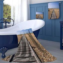 Beach Premium Cotton Extra Large Bath Towel Set Raised Wood