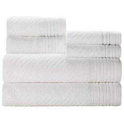 Caro Home Beacon White 6 Piece Bath Towel Set - 2 Bath Towel