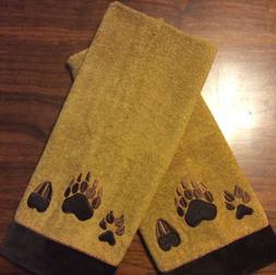 Avanti Bear Paw Prints Hand Towels Set Of 2 Nutmeg Color 100
