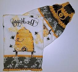 Bee Happy Color Blocked Contemporary Hanging Towel