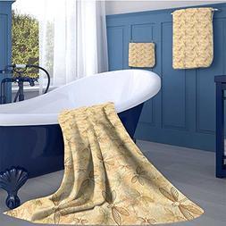 alisoso Beige Premium Cotton Extra Large Bath Towel Set Vint