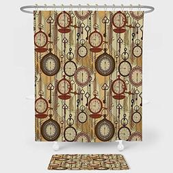 Beige Shower Curtain And Floor Mat Combination Set Retro Sty