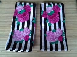 BETSEY JOHNSON HAND/FACE TOWELS  ROSES with BLACK & WHITE ST