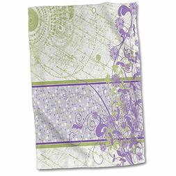 3D Rose Elegant Lavender and Green Floral Swirls Hand/Sports
