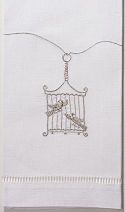Henry Handwork Birdcage Silver Towel