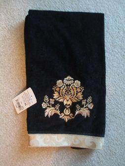 Avanti Black & Gold Scroll CREST Hand Towel New with Tag –
