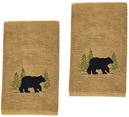 Black Bear Cotton Terry Applique Embroidered Hand Towel - Se