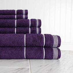 6 Piece Large Black Berry Purple Rope Trim Bath Towel Set, W