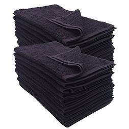 24 Pack Black 16x27 inches Cotton Salon Towels Soft Absorben