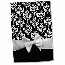 3dRose Black Damask Pattern with Elegant and Classy White Ri