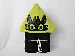 Black Dragon with Green Eyes Hooded Bath Towel - Baby, Child
