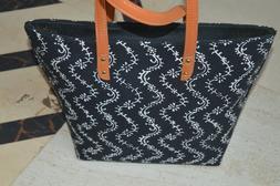 Black Hand Block Shoulder Bag Women's Beach Towel Bags Cotto