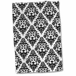 "3dRose Black and White Damask 2 Towel, 15"" x 22"""