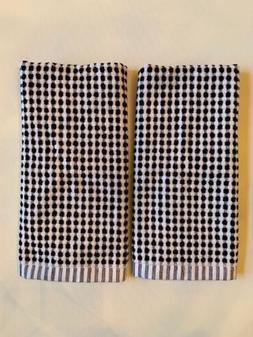 Hearth Hand Magnolia Black White Geometric Stripe Fringed Towel Set of 2 NWT