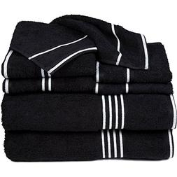 black white solid towel set