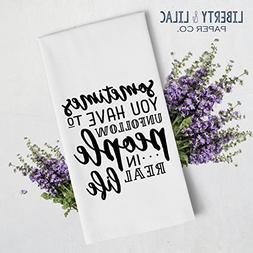 Black and White Tea Towel - Kitchen Towel - Hand Towel - Fun