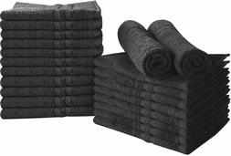 Bleach Proof Salon Towels in Black  24 Pack Cotton  16 x 27