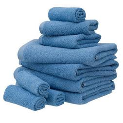 Blue 10 Piece Towel Set 100% Cotton Bath Towels Wash Cloths