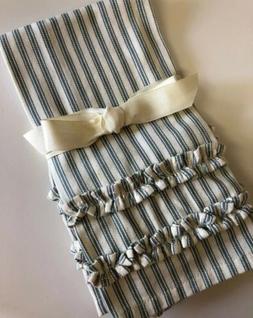 Pottery Barn Blue/Ecru Ticking Stripe Guest Hand Towels S/2