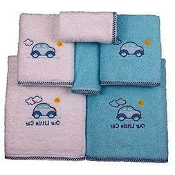 6 Piece Blue Little Car Printed Embroidered Towel Set With 2